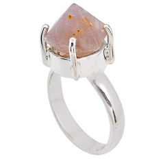 925 silver 6.86cts natural pink beta quartz fancy solitaire ring size 6.5 p84451
