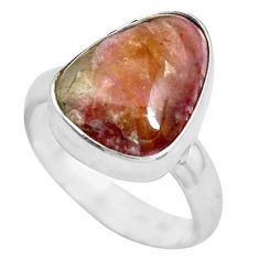 Clearance Sale- 925 silver 6.10cts natural pink bio tourmaline solitaire ring size 6 d32195