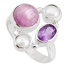 925 silver 6.54cts natural pink kunzite amethyst pearl ring size 7.5 p90770