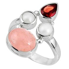 925 silver 7.88cts natural pink morganite garnet pearl ring size 8.5 p90740