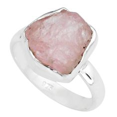 925 silver 6.39cts natural pink morganite rough solitaire ring size 7.5 p68948