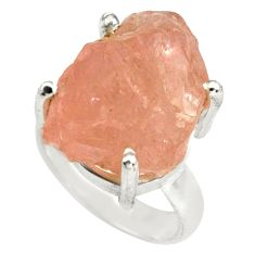 925 silver 21.48cts natural pink morganite rough solitaire ring size 6 p79644