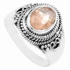 925 silver 3.19cts natural pink morganite solitaire ring jewelry size 8 p71668