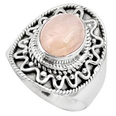 925 silver 4.55cts natural pink morganite solitaire ring jewelry size 7.5 p81204