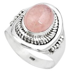 925 silver 4.40cts natural pink morganite solitaire ring jewelry size 7 p81212