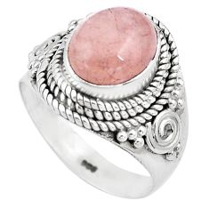925 silver 4.38cts natural pink morganite solitaire ring jewelry size 6.5 p81216