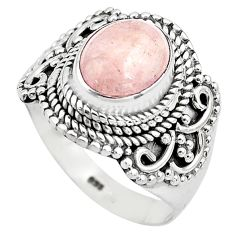 925 silver 4.55cts natural pink morganite solitaire ring jewelry size 8.5 p81220