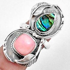 925 silver 11.87cts natural pink opal abalone paua seashell ring size 9 p42473