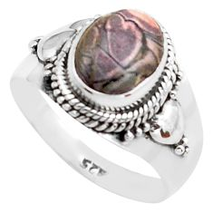 925 silver 4.28cts natural pink porcelain jasper solitaire ring size 8.5 p74879