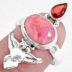 925 silver 6.02cts natural pink rhodochrosite inca rose owl ring size 7.5 p42773
