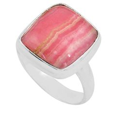 925 silver natural pink rhodochrosite inca rose solitaire ring size 7.5 p80673