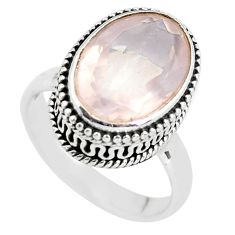 925 silver 6.39cts natural pink rose quartz solitaire ring jewelry size 7 p56659