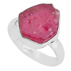 925 silver 6.39cts natural pink ruby rough solitaire ring jewelry size 6 p68977