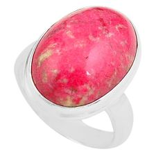 925 silver 14.26cts natural pink thulite oval solitaire ring size 7 p80623