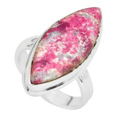 925 silver 12.62cts natural pink thulite solitaire ring jewelry size 5.5 p32984