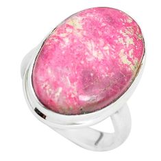 925 silver 14.14cts natural pink thulite solitaire ring jewelry size 6.5 p32996