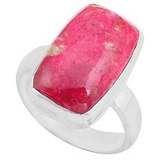 925 silver 10.01cts natural pink thulite solitaire ring jewelry size 6.5 p80628