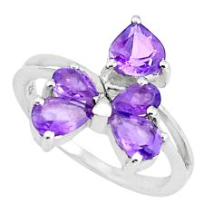 925 silver 4.53cts natural purple amethyst heart ring jewelry size 7.5 p37379
