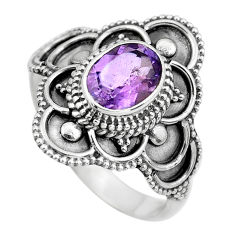 925 silver 2.21cts natural purple amethyst oval solitaire ring size 8.5 p61630