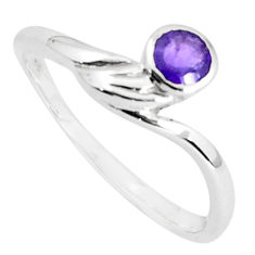 925 silver 0.57cts natural purple amethyst round solitaire ring size 6.5 p36887