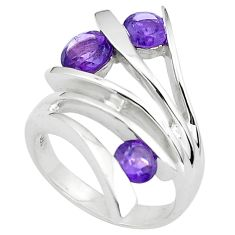 925 silver 2.81cts natural purple amethyst round solitaire ring size 7.5 p37025
