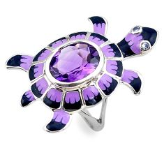 925 silver 4.36cts natural purple amethyst topaz tortoise ring size 7 c4078
