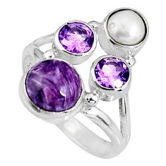 925 silver 6.31cts natural purple charoite (siberian) pearl ring size 8.5 p90712
