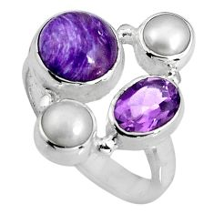 925 silver 7.50cts natural purple charoite (siberian) pearl ring size 6.5 p90716