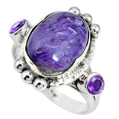 925 silver 7.36cts natural purple charoite (siberian) ring size 8.5 p69904