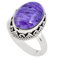 925 silver 6.32cts natural purple charoite oval solitaire ring size 7 p56464