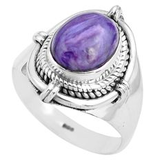 925 silver 4.38cts natural purple charoite oval solitaire ring size 8 p81224