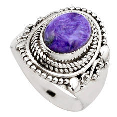 925 silver 4.05cts natural purple charoite oval solitaire ring size 7 p88898