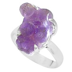 925 silver 9.05cts natural purple grape chalcedony solitaire ring size 8 p63460