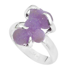 925 silver 6.72cts natural purple grape chalcedony solitaire ring size 7 p63469