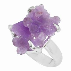 925 silver 7.62cts natural purple grape chalcedony solitaire ring size 7 p63472