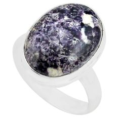 925 silver 11.19cts natural purple lepidolite solitaire ring size 7.5 p80608