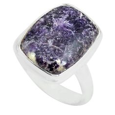 925 silver 9.99cts natural purple lepidolite solitaire ring size 7 p80611