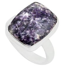 925 silver 9.98cts natural purple lepidolite solitaire ring size 8 p80614