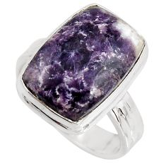 925 silver 10.02cts natural purple lepidolite solitaire ring size 7.5 p90984