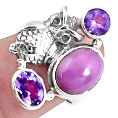 925 silver 7.22cts natural purple phosphosiderite owl ring size 6.5 p42747