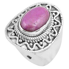 925 silver 4.71cts natural purple phosphosiderite solitaire ring size 8.5 p81291