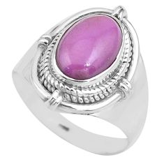 925 silver 4.38cts natural purple phosphosiderite solitaire ring size 8.5 p81297