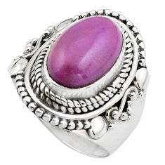 925 silver 4.38cts natural purple phosphosiderite solitaire ring size 7 p88879