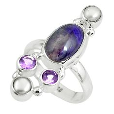 925 silver 7.66cts natural purple sugilite amethyst pearl ring size 7.5 p61850
