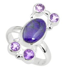 925 silver 7.66cts natural purple sugilite amethyst ring size 8.5 p61847