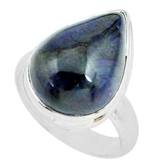 925 silver 15.97cts natural purple sugilite pear solitaire ring size 8.5 p68355