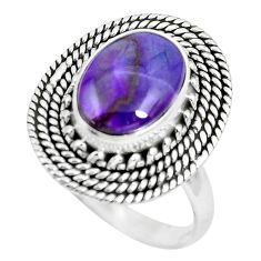 925 silver 4.93cts natural purple sugilite solitaire ring size 8.5 p63235