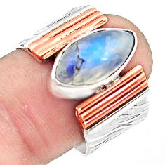 925 silver natural rainbow moonstone 14k gold solitaire ring size 8.5 p81010