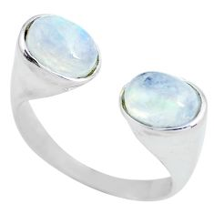 Clearance Sale- 925 silver 3.91cts natural rainbow moonstone adjustable ring size 8.5 d32118