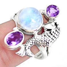 925 silver 7.21cts natural rainbow moonstone amethyst fish ring size 9 p42884